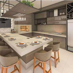 55 modern kitchen ideas decor and decorating ideas for kitchen design 2019 24 Kitchen Room Design, Modern Kitchen Design, Dining Room Design, Home Decor Kitchen, Interior Design Kitchen, Kitchen Ideas, Kitchen Island Table, Modern Kitchen Interiors, Cuisines Design