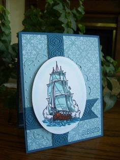 Father's Day Ship by stampin'nana - Cards and Paper Crafts at Splitcoaststampers Harley Davidson Stock, Turquoise Purse, Father Images, Nautical Cards, Old World Maps, Just For Men, Penny Black, Masculine Cards, Card Tags