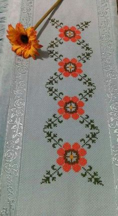 This Pin was discovered by eso Cross Stitch Borders, Cross Stitch Flowers, Cross Stitch Designs, Cross Stitching, Cross Stitch Patterns, Embroidery Motifs, Cross Stitch Embroidery, Embroidery Designs, Palestinian Embroidery