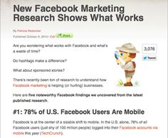 New Facebook Marketing Research Shows What Works: The latest research on Facebook marketing shows interesting trends and opportunities. Use this to update your Facebook marketing with the latest findings.