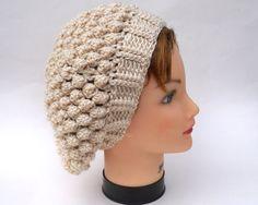 Crochet Slouchy Hat  Popcorn Beanie In Acadia by BettyMarieJones