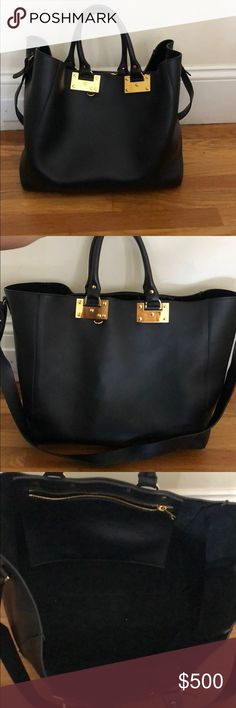 Sophie Hulme Tote Bag Large, black leather tote will removable shoulder strap. Not new but used less than 10 times. Leather still in new/great condition Sophie Hulme Bags Totes