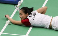 Michelle Li ends up on the court after diving for the shuttle. Pan Am, Badminton, Diving, Cool Photos, Canada, Games, Day, Scuba Diving, Gaming