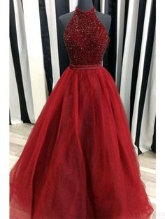Halter Beading Bodice A Line Long Tulle Prom Dresses Evening Dresses #SIMIBridal #promdresses