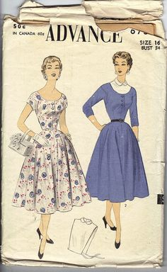 1954 Misses Dress and Dickey pattern Advance 6756.