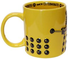 Doctor Who Dalek Mug (Yellow) by Underground Toys: This ceramic Doctor Who Dalek mug makes an ideal gift for any Doctor Who fan, whether for drinking hot beverages or as a quirky addition to the home or workplace. Coffee Mugs Amazon, 16 Oz Coffee Mugs, Coffee Cups, Doctor Who Dalek, Yellow Mugs, Grandma Mug, Insulated Mugs, Mugs For Sale, Vintage Dishes