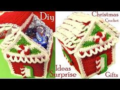 Crochet Christmas House In Point Holiday Crochet, Crochet Home, Crochet Gifts, Diy Crochet, Christmas Projects, Christmas Crafts, Christmas Decorations, Christmas Ornaments, Christmas Stockings