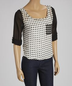 Look what I found on #zulily! Ivory & Black Sheer Square Back-Tie Top by Millenium Clothing #zulilyfinds