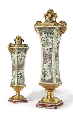 Pair of Russian Ormolu-Mounted Chinese Famille Rose Porcelain Vases