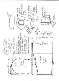 Baby Bonnet Pattern, Baby Hat Patterns, Kids Patterns, Doll Clothes Patterns, Doll Patterns, Clothing Patterns, Sewing Patterns, Sewing For Kids, Baby Sewing