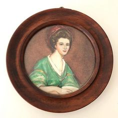 This vintage portrait painting is one of a set of three portraits by the artist H. Oil on board, behind glass in a round wooden frame, hanging loop to. Green Dress, Wooden Frames, Vintage Art, Vintage Dresses, Portraits, Lady, Artwork, Artist, Painting