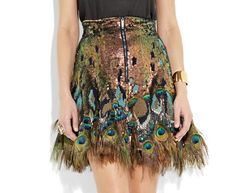 Fancy - Matthew Williamson Peacock Feather Trim Sequin Skirt