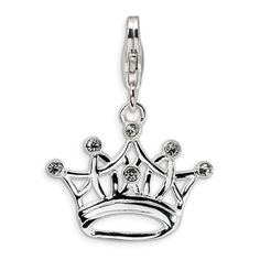 Amore La Vita™ Crown Charm with Cubic Zirconia in Sterling Silver - Zales