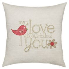 Add a lovely touch to your favorite arm chair or chaise with this eye-catching pillow, showcasing a charming typographic motif.   Pro...