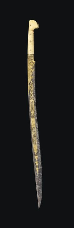 Late-Ottoman 'yatağan' (sword with forward bend). Dated 1241 H. Swords And Daggers, Knives And Swords, Armas Ninja, Cool Swords, Dagger Knife, Cool Knives, Arm Armor, Weapons Guns, Katana