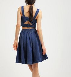 Vero Moda VMALANI Spódnica jeansowa rozkloszowana dark blue denim