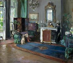 Sir John Lavery: The Greyhound (Sir Reginald Lister & Eileen Lavery); The Last British Minister, the Drawing Room, British Legation, Tangier) 1910 Ulster Museum