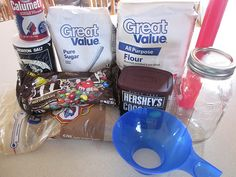 Brownie In A Jar - flour - baking powder - salt - cocoa powder - sugar - chopped pecans or chocolate chips or M&M's