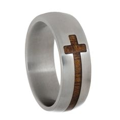 Cross Ring Titanium Ring For Men With A Koa Wooden Cross Christian Jewelry