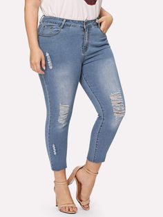 32f54e449f6 Plus Faded Wash Ripped Raw Hem Jeans  fashion  clothing  shoes  accessories