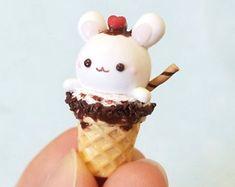 Crème glacée au chocolat lapin pâte polymère pâte charme Collier pendentif