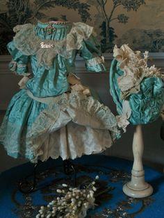 ~~~ Superb French Aqua Silk Sateen Bebe Costume ~~~ from whendreamscometrue on Ruby Lane