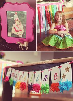 Magical Rainbow Unicorn Party! Hand glittered name banner from The Purple Pug.