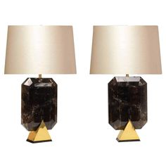 Pair of Diamond Form Smoky Brown Rock Crystal Quartz Lamps | From a unique collection of antique and modern table lamps at https://www.1stdibs.com/furniture/lighting/table-lamps/