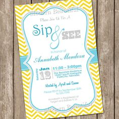 neutral grey and yellow chevron sip and see baby shower invitation