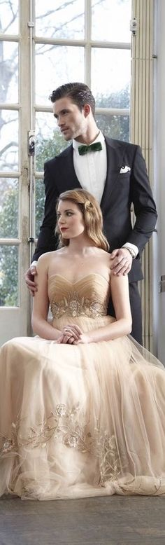 Champagne wedding dressthis couple is really attractive. Wedding Bells, Fall Wedding, Wedding Gowns, Dream Wedding, Classy Couple, Black Tie Affair, Glamour, Bridal Show, Vintage Design