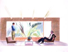 Study for Portrait of Nick Wilder & Gregory Evans, 1974 crayon on paper, 19 x 25 in. David Hockney Paintings, Pop Art Movement, Draw On Photos, Ways Of Seeing, Colored Pencils, Printmaking, Modern Art, Drawings, Draw