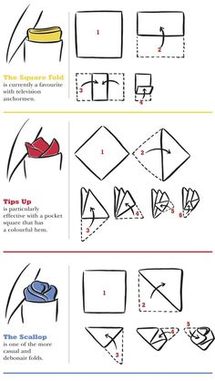 How to fold pocket squares from Harry Rosen Pocket Square Folds, Pocket Square Styles, Men's Pocket Squares, Handkerchief Folding, How To Fold Hankerchief, Suit Pocket Handkerchief, Retro Mode, La Mode Masculine, Men Style Tips