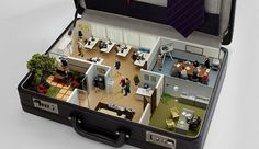 Office in a case.  Diorama / Miniature