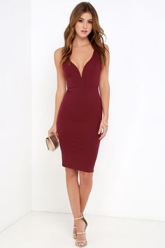 Bring out a sense of sophistication with the Gracefully Yours Burgundy Dress! This thick stretch knit dress has a fitted bodice with a deep V-neckline (and hidden V bar), plus a fitted midi length skirt for a look of style and elegance. Double straps on the back give this dress an open feel while princess seams at front give it an extra feminine touch. Hidden back zipper.