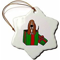 Basset Hound Puppy Dog in Christmas Package - Snowflake Christmas Ornament, Porcelain, 3-inch