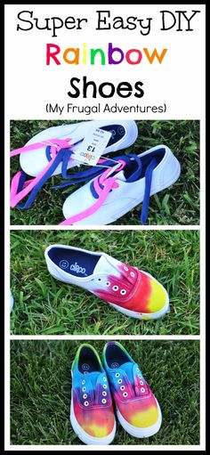 DIY Tie Dye Children's Shoes - My Frugal Adventures How To Dye Shoes, How To Tie Dye, Diy Tie Dye Shoes, Diy Tie Dye Converse, Ty Dye, Tie Dye Crafts, Rainbow Shoes, Rainbow Clothes, Tye Dye