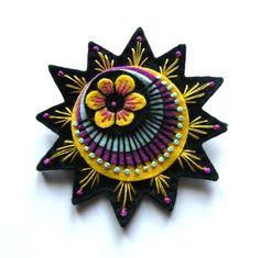 Etsy Transaction - RRetro starburst felt brooch with freeform embroidery
