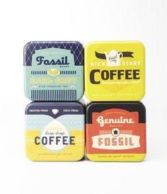 Creative Fossil, Coffee, Design, Inspiration, and Packaging image ideas & inspiration on Designspiration Retro Packaging, Brand Packaging, Coffee Branding, Coffee Packaging, Packaging Design Inspiration, Graphic Design Inspiration, Typography Design, Branding Design, Label Design