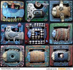 Surrealistic ceramics, by Roman Khalilov. Clay Wall Art, Ceramic Wall Art, Ceramic Clay, Tile Art, Ceramic Pottery, Porcelain Ceramic, Sculpture Projects, Clay Projects, Wall Sculptures