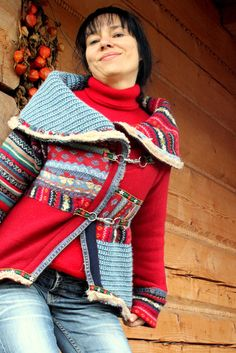 Warm and fine recycled sweater jacket boho fol style.  Can you make this for me??