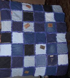 #denim #rag #quilt with leather labels