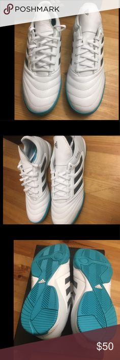 Men's adidas sneakers. Brand new with box. White with black side stripes and turquoise sole. adidas Shoes Sneakers