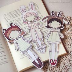Three Cute Friends set of bookmarks by ribonitachocolat on Etsy, $6.50