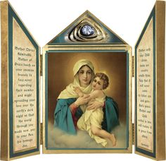 Schoenstatt Madonna Triptych Plaque - Catholic to the Max - Online Catholic Store Catholic Store, Catholic Art, Roman Catholic, Mother Of Christ, The Birth Of Christ, Madonna, Blessed Virgin Mary, Old Maps, Orthodox Icons