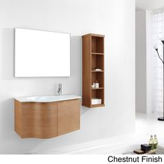 Liven-up your bathroom with this sleek Roselle vanity set from Virtu. Featuring a unique modern design, this vanity set is constructed of solid oak and is complete with a gorgeous stone countertop, chrome finished hardware and soft closing doors.