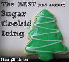 The BEST and EASIEST sugar cookie icing ever! Only two ingredients! Two ingredient sugar cookie icing recipe for decorating. Made with no corn syrup. A simple recipe that is perfect for sprinkles as it hardens. The best ever! Best Sugar Cookie Icing, Easy Sugar Cookies, Sugar Cookies Recipe, Holiday Cookies, Cookie Recipes, Frosting For Sugar Cookies, Icing Frosting, Powdered Sugar Icing, Icing Recipes