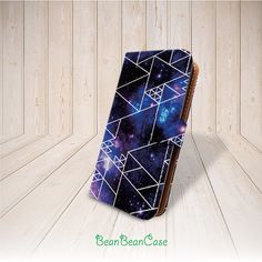 Geometric galaxy cosmo blue sky flip pu leather wallet case for iphone , samsung and moto by BeanBeanCase, $12.99