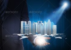 Man in suit holding skyscrapers in the hand ...  3d, background, blue, building, business, businessman, city, communication, concept, conceptual, confident, connect, connection, corporate, creative, digital, display, downtown, equipment, global, graph, hand, hold, holding, human, icon, idea, interaction, internet, map, media, model, network, object, office, people, person, sky, skyscraper, spotlight, world