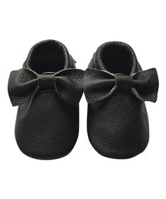 Black Bow Leather Moccasin