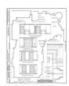 HABS (sheet 18 of - Woodlawn Plantation, State Highway Napoleonville, Assumption Parish, LA Plantation Homes, Construction Documents, Construction Drawings, Historical Architecture, Architecture Details, Assumption Parish, Greek Revival Home, Elevation Drawing